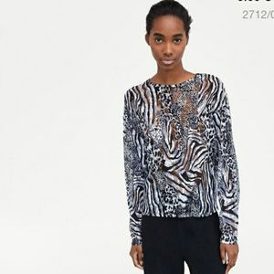 Animal print lace top